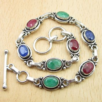 "Silver Plated Rubys, Emeralds, Sapphires Multi Colored Bracelet 8 1/2"" Jewelry Variation"