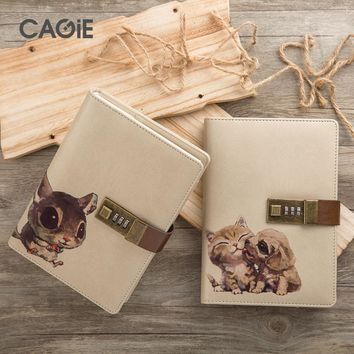 CAGIE 2017 New Agenda Cute with Lock Notebook Kawaii Pet for Creative Travelers Diary Planner Notebooks Cat Personal Journals