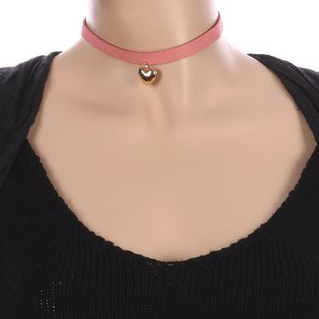 Pink Metal Heart Charm Faux Suede Choker Necklace