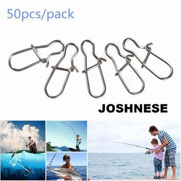 JOSHNESE Brand 50PCS High Quality Stainless Steel Hook Lock Snap Swivel Solid Rings Safety Snaps Fishing Hooks Connector