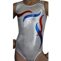 AERO Leotards Gymnastics Mystique Patriotic USA Leotard Gymnast Leotards cs cm cl axs as sizes 3-12
