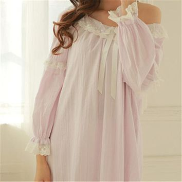 New Arrivals Vintage Nightgowns Sleepshirts Sexy Home Dress Lace Sleepwear Solid Sleep & Lounge Cotton Nightgown female
