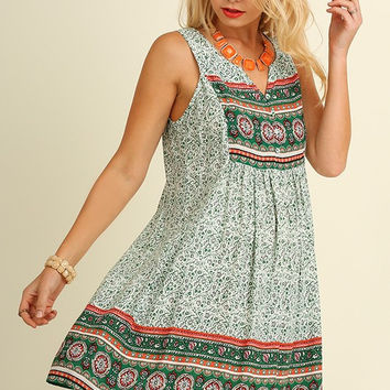 Afternoon Outing Dress - Green