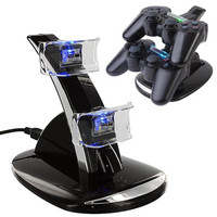 USB Dual Dock Charging Stand Station for Sony PS3 Controller Charger with Blue LED