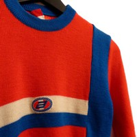 Small Size Woolen Vintage Pullover Red Blue White Sporty Knitted Retro Skiing Jumper