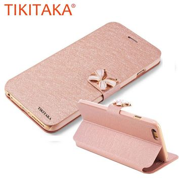 Luxury Leather Wallet Stand Flip For iPhone 7 6 6s Plus SE 5 5s SE Case Fashion Bling Diamond Butterfly bow knot Cover Slot Card