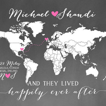 Custom Long Distance Personalized Chalkboard World Map Gift 8x10 For Husband Wife Military Deployment