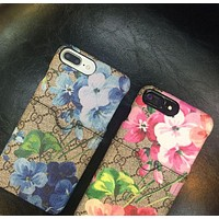 GUCCI iPhone6 is a sleek retro embroidery floral print iPhone 7plus.