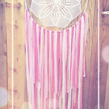 Big Purple & White Shabby Chic Boho Crochet Doily Lace Dreamcatcher