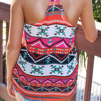 Geometric Print Racer Back Sleeveles Top