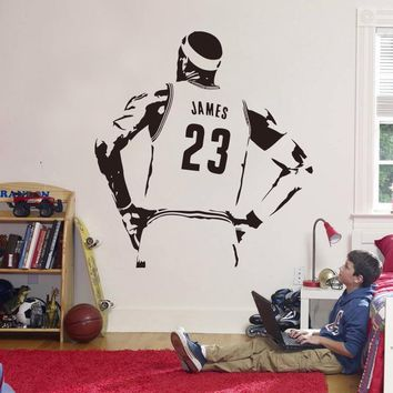 New Design NBA James Wall Sticker Vinyl DIY Home Decor Basketball Player Decals Sport Star For Kids Room Free Shipping