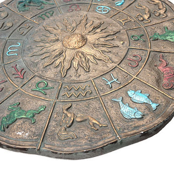 Zodiac Wall Hanging, Vintage Plaster Cast, Retro Horoscope Astrological Signs 1976, American Culture, Aquarius, Capricorn, Scorpio, Libra