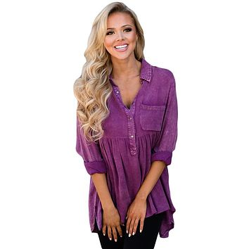 Mineral Washed Button-up Babydoll Ruffle Top in Purple