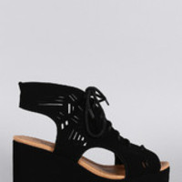 Women's Qupid Nubuck Laser Cutout Platform Wedge