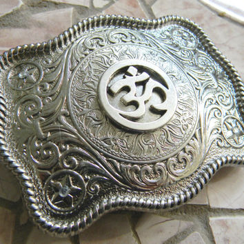 Om Silver Belt Buckle, Om Symbol Meditation Mantra, Aum, Yoga Om, Yoga Western Etched Mens Womens Belt Buckle, Custom Om Belt Buckle