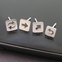 Arrow Earrings - Square Earrings - Media Icon Studs - Sterling Silver - Geometric Jewelry - Computer Symbols