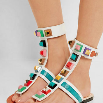 Multicolor Stud Detail Toe Post Ankle Flat Sandals