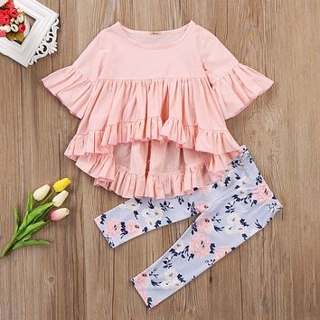 2 Pcs Baby Girls Pink Ruffle Top and Floral Pants Outfit set