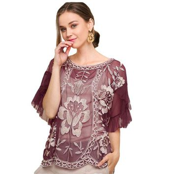 Payton Embroidered Sheer Lace Top