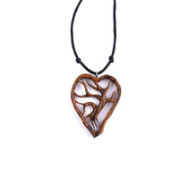 Tree of Life Necklace, Heart Pendant, Wood Carved Pendant, Wood Pendant, Wooden Heart, Tree of Life Pendant, Wood Jewelry, Wooden Pendant