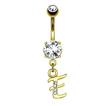 BodyJ4You Belly Button Ring E Letter Initial Dangle Surgical Steel Piercing Bar 14G Curved Barbell