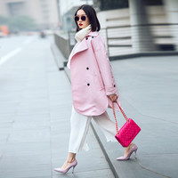 Casual Pink Double Collar Black Button Open Front Coat