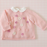 Knitted baby sweater with little felt flowers. Pink. 100%  merino wool. READY TO SHIP size 3-6 months.