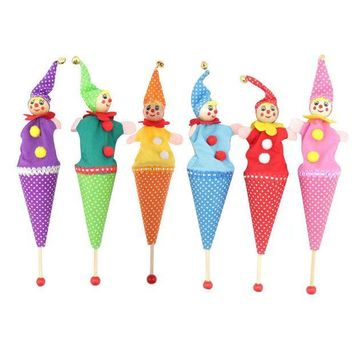 ICIK272 Baby Toys Wood and Cloth Retractable Clown Smiling Face Hide & Seek Play Jingle Bell Toy Kids Funny Toy