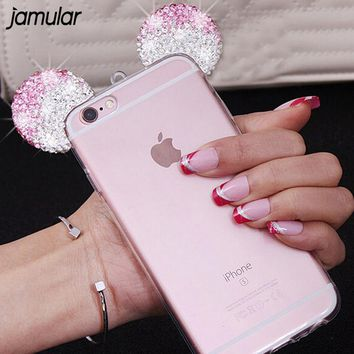 JAMULAR 3D Diamond Mickey Mouse Case For iPhone 7 8 Plus 6 6S Plus Cover Shell Rhinestone Ears Soft Transparent TPU Covers Cases