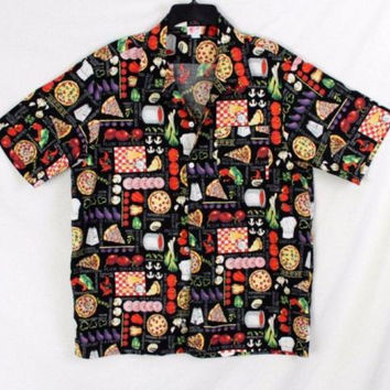 Mens Scorpio L size Shirt Black Multi Color Outdoor Party BBQ Chef Foodie Pizza