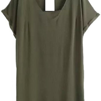 Army Green V Neck Shift Mini Dress