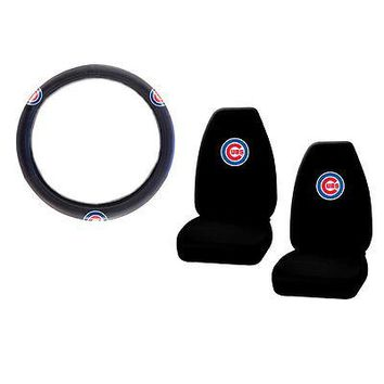 Licensed Official New MLB Chicago Cubs Car Truck Front Seat Covers & Steering Wheel Cover Set
