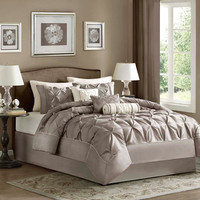 Laurel 7 Piece Taupe Comforter Set