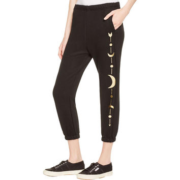 Spiritual Gangster Womens Moon Arrow Metallic French Terry Jogger Pants