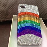 Handmade Rainbow Rhinestone Case For iPhone 4/ 4S