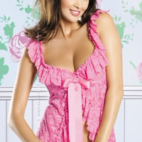 Pink Floral Lace Ruffled Babydoll