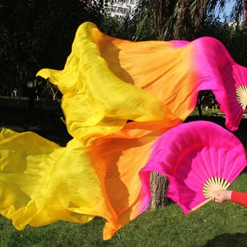 Pure Silk Folding Fan with Veil (NEW COLOR) 1 Pair