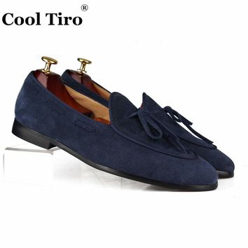 Cool Tiro Suede Loafers Men Moccasins Leather Bow