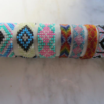 Hand-loomed Bracelet, Colorful Bracelets, Boho Chic Jewelry, Beaded Bracelet, Loomed Cuff Bracelet, Hippie beaded bracelet, Anklet Bracelet