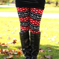 All I Want For Christmas Fleece Lined Leggings in Red