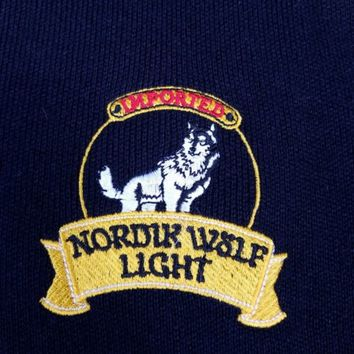 Vintage 1984 Nordik Wolf Light Beer Advertising Sweater Carlsberg Sverige Beer