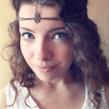 Hamsa Vintage Chain Antique Brass and Mint Headpiece - Made to order- Free Shipping