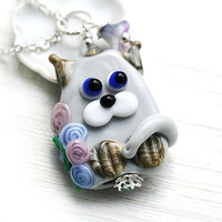 Cat Pendant, Grey Kitten, Cat Jewelry, Lampwork glass Cat with flowers, Adoptable, Cat lover gift, Pet Adoption