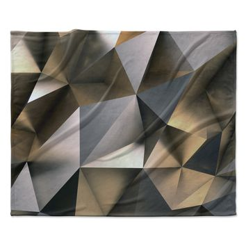 "Susan Sanders ""Modern Metal Silver Gold"" Gray Gold Abstract Contemporary Photography Fleece Throw Blanket"
