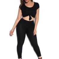Sexy Top & Leggings Ribbed Set In Black