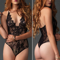 Sexy Lace Hollow One Piece Underwear Lingerie