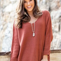 Just For You Sweater in Brick | Monday Dress Boutique