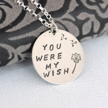 Hand-Stamped Dandelion You Were My Wish Sterling Silver Necklace