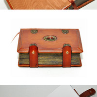 Brown leather journal, antique style, 4x6 inch (10x15 cm) in gift box with 640 pages (counting side by side).