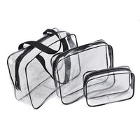 FGGS Hot 3pcs Clear Cosmetic Toiletry PVC Travel Wash Makeup Bag (Black)